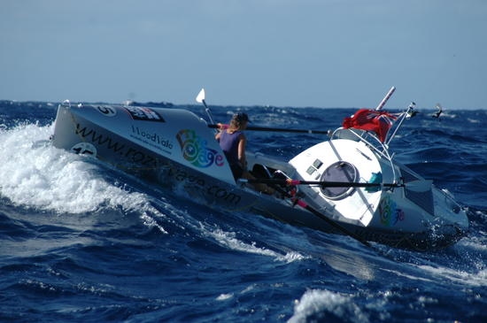 Roz Savage courageously rowing the atlantic